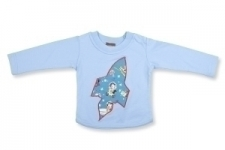 Retro Space Long Sleeve T Shirt in Light Blue