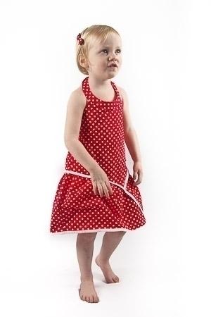 Red Dot Halter Neck Dress