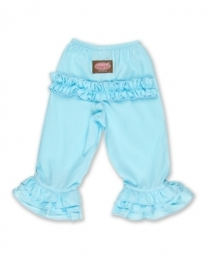 Long Ruffle Pants in Light Blue
