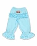 Long Ruffle Pants in Light Blue