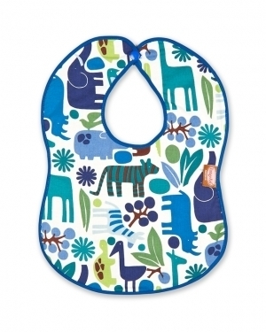 A Day at the Zoo Bib with blue binding