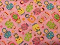Babushka Doll Bib Pink Binding