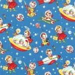Retro Rocket Rascals Fabric